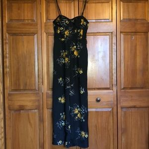 Black and yellow floral pantsuit